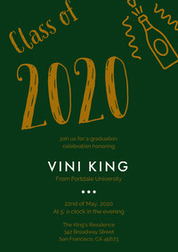 Brown and Dark Green Graduation Party Invitation Card with Champagne Einladung zur Abschlussfeier