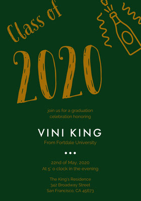 Brown and Dark Green Graduation Party Invitation Card with Champagne Graduation Invitation