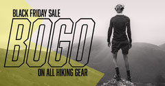 Yellow and Gray Hiking Equipment Sale Facebook Ad Bogo