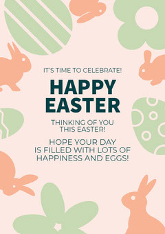 Pink and Green, Light Toned Happy Easter Wishes Card  Easter