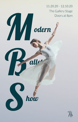 white navy grey modern ballet show dancing poster Event Program