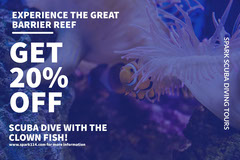 White and Blue Scuba Dive Ad Facebook Banner Fish
