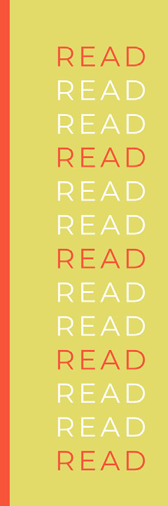 Yellow Typography Bookmark with Read Text Typography