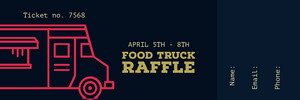 Black and Red Food Truck Raffle Ticket Bilhete de sorteio