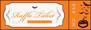 Orange, White and Navy, Light Toned Halloween Raffle Ticket Arpa