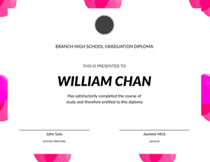 White Black and Pink Graduation Certificate Diploma