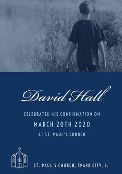 Blue and White Confirmation Announcement Church