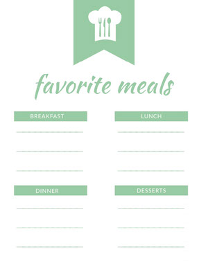 Green Illustrated Favorite Meals Planner Veckomeny