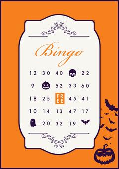 Orange, White and Navy, Light Toned Halloween Bingo Card Halloween Party Bingo Card
