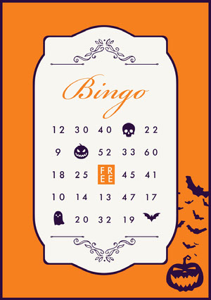Regal Halloween Party Bingo Card Bingokort
