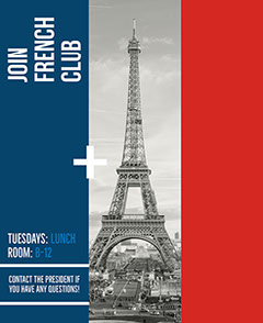Red, White and Blue French Club Ad Poster  France