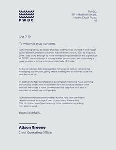 Light Blue Business Recommendation Letter Blue