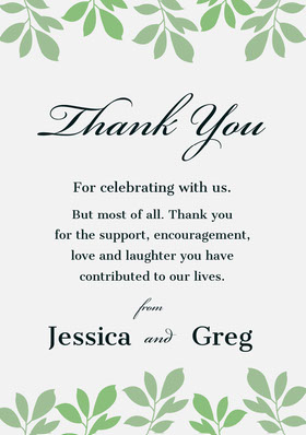 leaves wedding thank you card Thank You Card