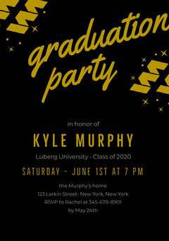 Gold and Black Graduation Party Invitation Card Gold