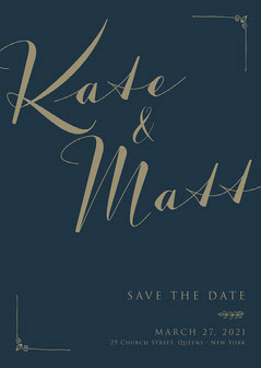 Navy Blue and Golden Had Write Wedding Save The Date Typography