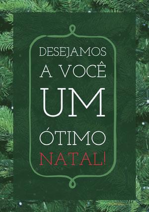 DESEJAMOS A VOCÊ UM ÓTIMO NATAL! Cartão de Natal