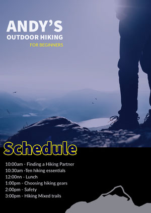 Blue and Yellow Hiking Program Event Program