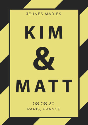yellow and grey wedding announcements   Invitation de mariage