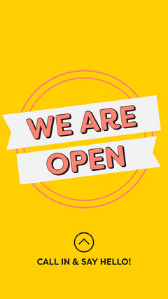 Yellow We Are Open Instagram Story Typography
