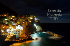 Illuminated Manarola Cinque Terre Italy Postcard  Italy