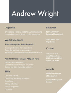 Grey and Navy Blue Andrew Wright Resume Grey