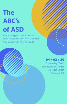 Autism Seminar Poster Folleto de invitación a evento