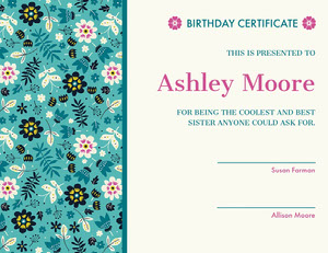 Blue and Pink Floral Birthday Certificate from Siblings Birthday Certificate