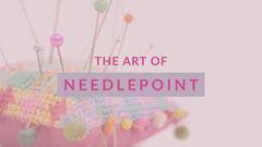Pink and White Needlepoint Art Promotion Art