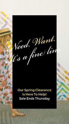 Black and Yellow Spring Clearance Sale Ad with Woman in Dress Dress
