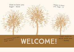 brown dandelion group welcome card Brown