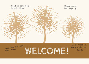 brown dandelion group welcome card Cartão com Mensagem de boas-vindas ao Grupo