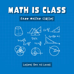 Blue and White Math is Class Lessons Instagram Square  Teacher