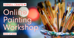 Dark Blue Paintbrushes Painting Workshop Facebook Post Workshop