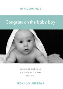 Blue Baby Congratulations Card with Photo Boys