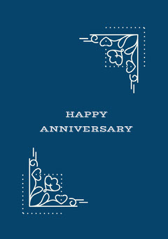 White and Blue Anniversary Card Family