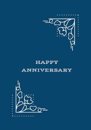 White and Blue Anniversary Card Carte d'anniversaire de mariage