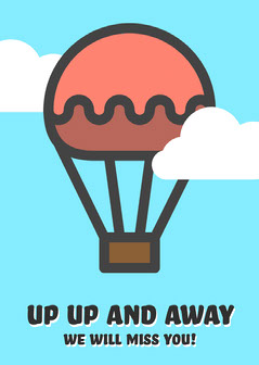 Cloudy Balloon Up Up and Away Card Balloon