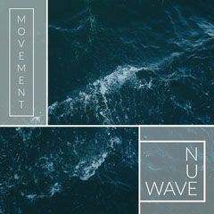 Blue and White, Modern, Nu Wave Music Album Cover, Instagram Post Wave