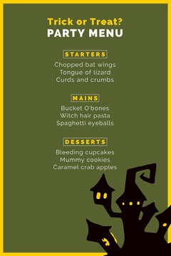 Green Haunted House Halloween Party Menu Halloween Party Menu