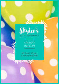 Balloon Birthday Party Invite  Feestuitnodiging