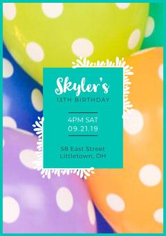 Balloon Birthday Party Invite  Balloon