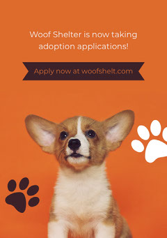Woof Shelter is now taking adoption applications! Dog Flyer