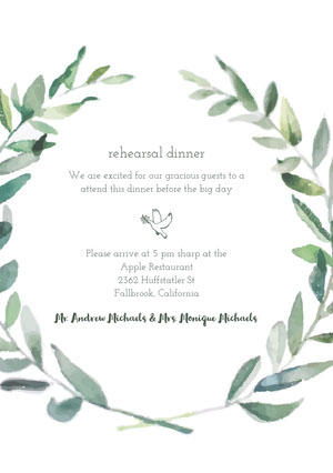 White and Green Rehearsal Dinner Invitation Rehearsal Invitation