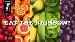 Rainbow Colored Healthy Eating Blog Post Graphic with Fruit and Vegetable Collage Rainbow