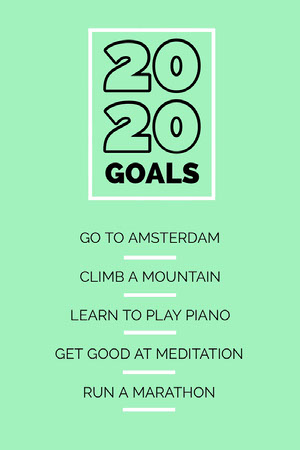 Green New Year Goals Pinterest Graphic Planilha de metas