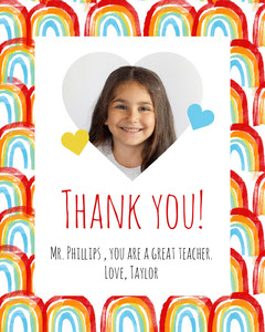 Rainbows and Hearts Thank You Teacher Appreciation Card Classroom