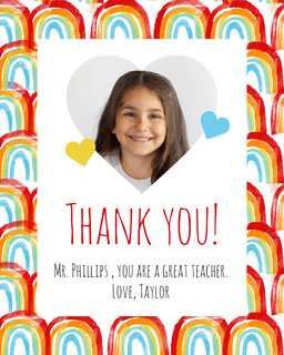 Rainbows and Hearts Thank You Teacher Appreciation Card