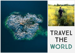 Travel the World Postcard with Collage Boys