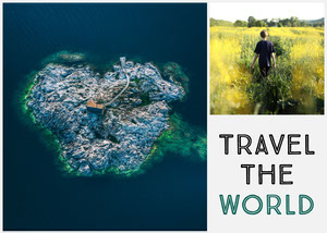 Travel the World Postcard with Collage Rejsepostkort