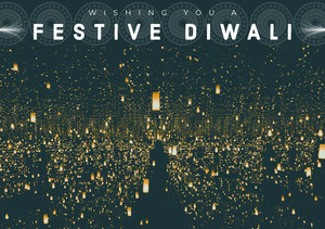 Black and Gold, Illuminated Diwali Wishes Card Diwali